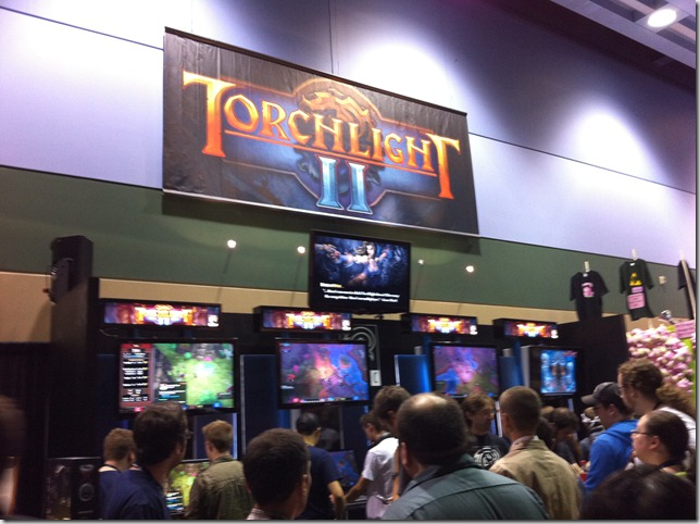 Torchlight II! Looked pretty good, but the booth was pretty crowded so I didn't linger.