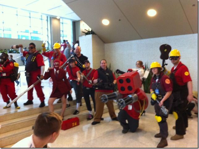 TF2 cosplayers in the lobby!